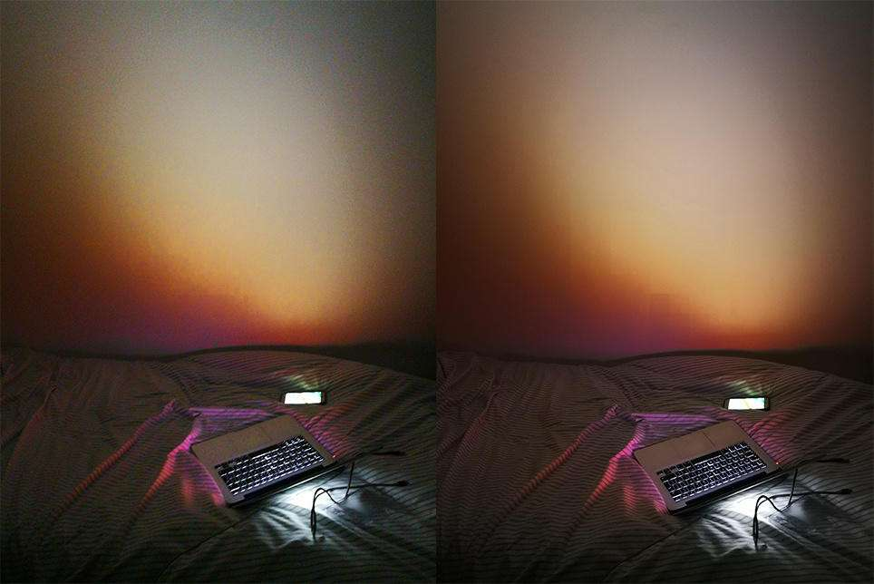 عکس با دخالت هوش مصنوعی در سمت راست - عکس بدون دخالت هوش مصنوعی در سمت چپ