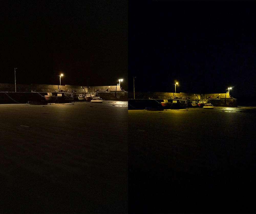 نمونه عکس گوگل پیکسل در سمت راست - نمونه عکس میت 10 با هوش مصنوعی در سمت چپ