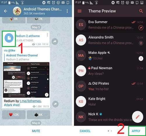 آموزش دانلود و نصب تم در تلگرام (نسخه اندروید و دسکتاپ)همچنین تمام کاربران اندرویدی میتوانند علاوه بر دانلود، نصب و ویرایش تمهای  موجود در کانال تلگرام، پوستهی مورد نظر خود را ساخته و از آن استفاده کنند.