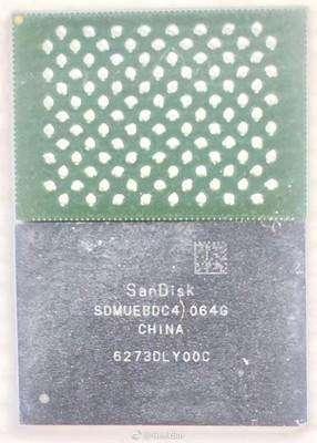 حافظه داخلی ۶۴ گیگابایتی آیفون ۸ که ساخت SanDisk است